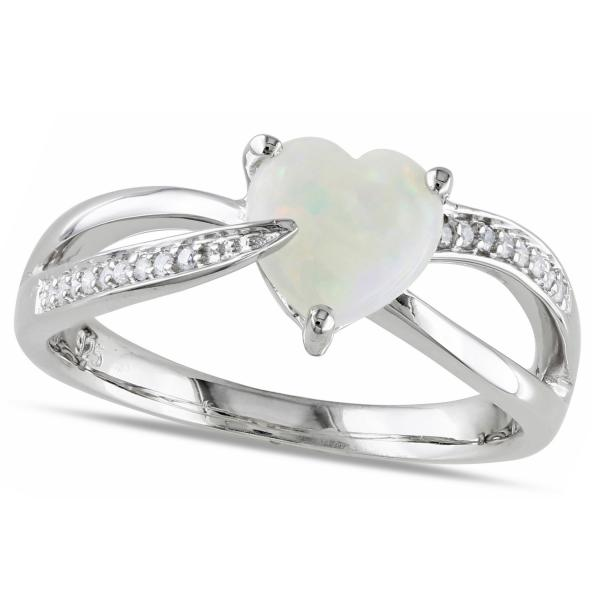 Brand new Heart Shaped White Opal Solitaire & Diamond Ring Silver 0.99ct QW67