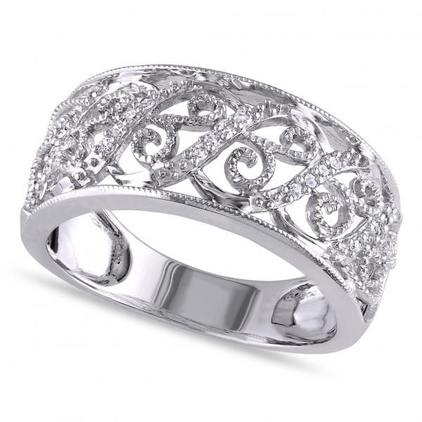 Allurez Ladies Pave Set Filigree Diamond Ring 14k White G...