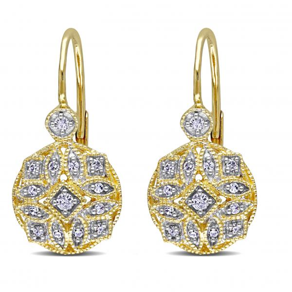 Vintage Style Leverback Diamond Earrings Floral 14k Yellow Gold 0.15ct