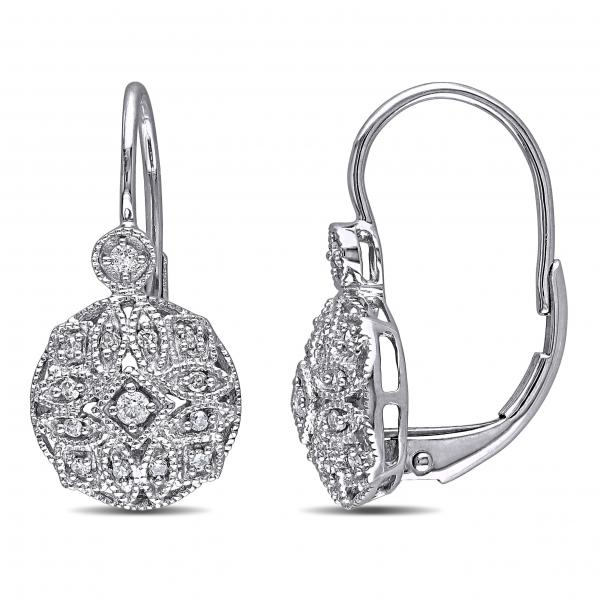 Vintage Style Leverback Diamond Earrings Fl 14k White Gold 0 15ct