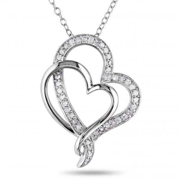 5a19a45940cd Double Open Heart Diamond Pendant Pave Set Sterling Silver 0.25ct ...