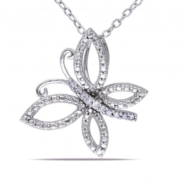 Tilted Butterfly Pendant Necklace Diamond Accent Sterling Silver .05ct