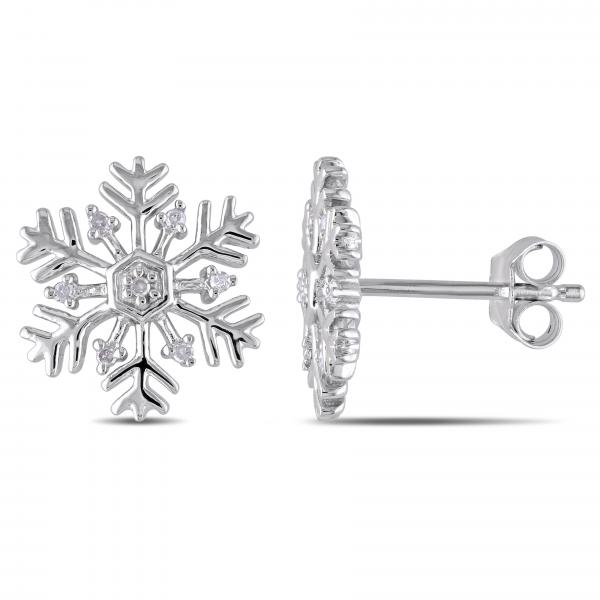 Snowflake Stud Earrings With Diamond Accents In Sterling Silver 0 06ct