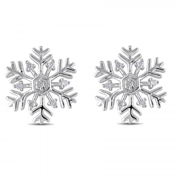 Snowflake Stud Earrings with Diamond Accents in Sterling Silver 0.06ct