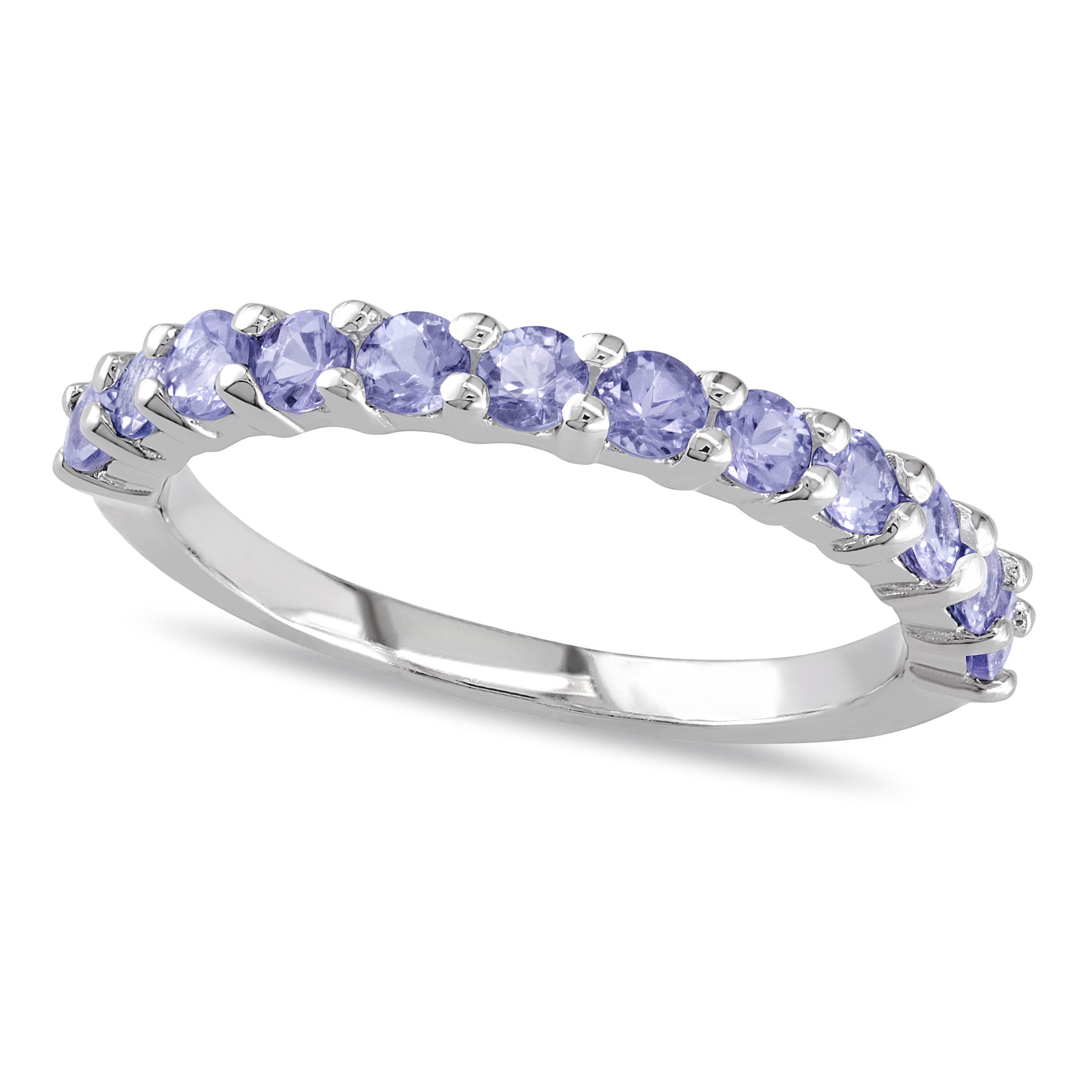 Semi Eternity Tanzanite Wedding Ring Band Sterling Silver 0 80ct