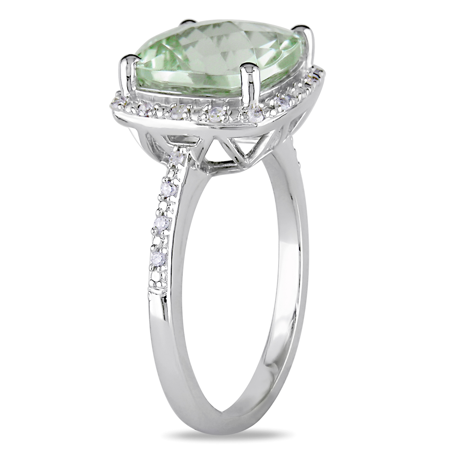 Diamond & Green Cushion Amethyst Fashion Ring Sterling Silver (4.10ct)