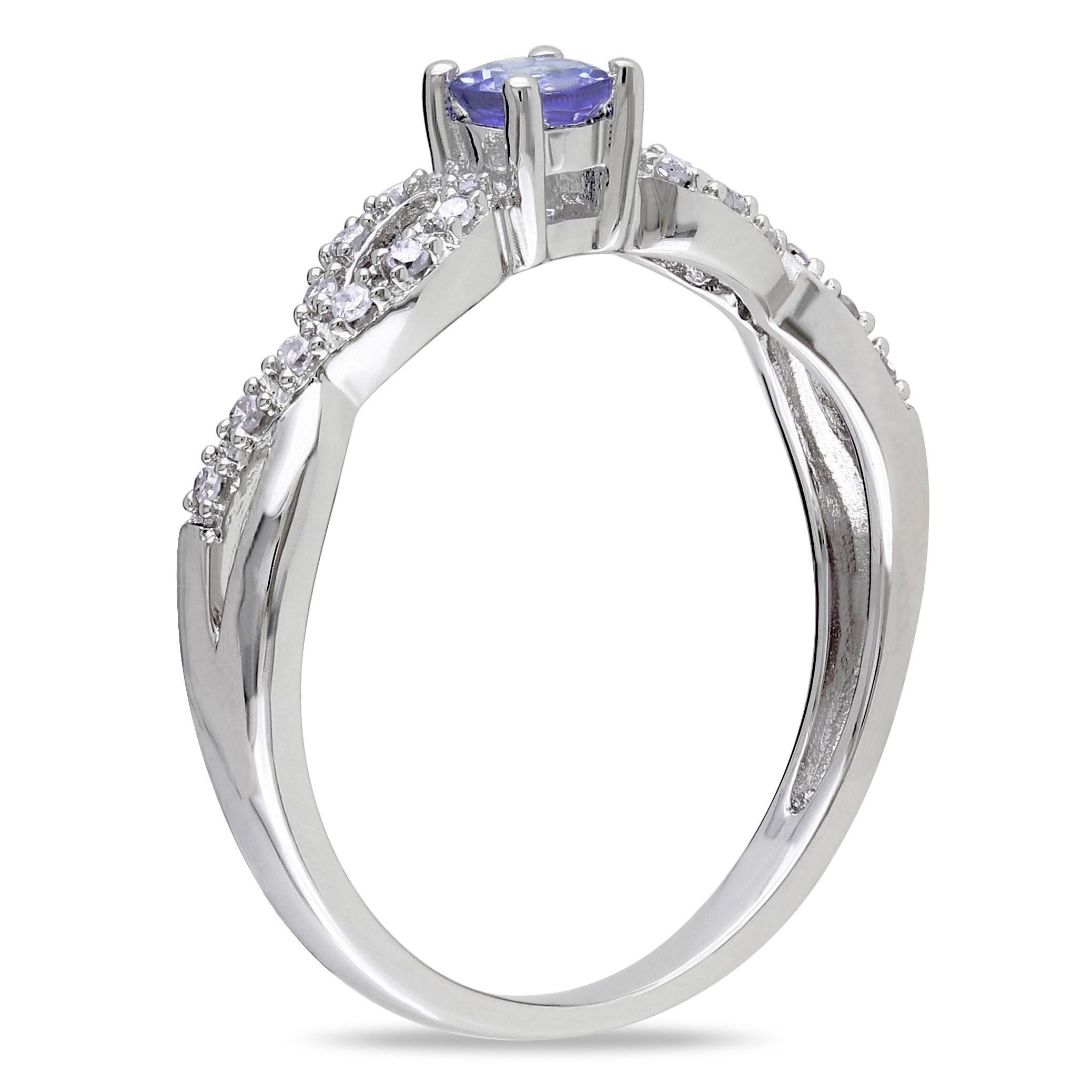 Diamond & Morganite Twisted Fashion Ring Sterling Silver (0.27ct)