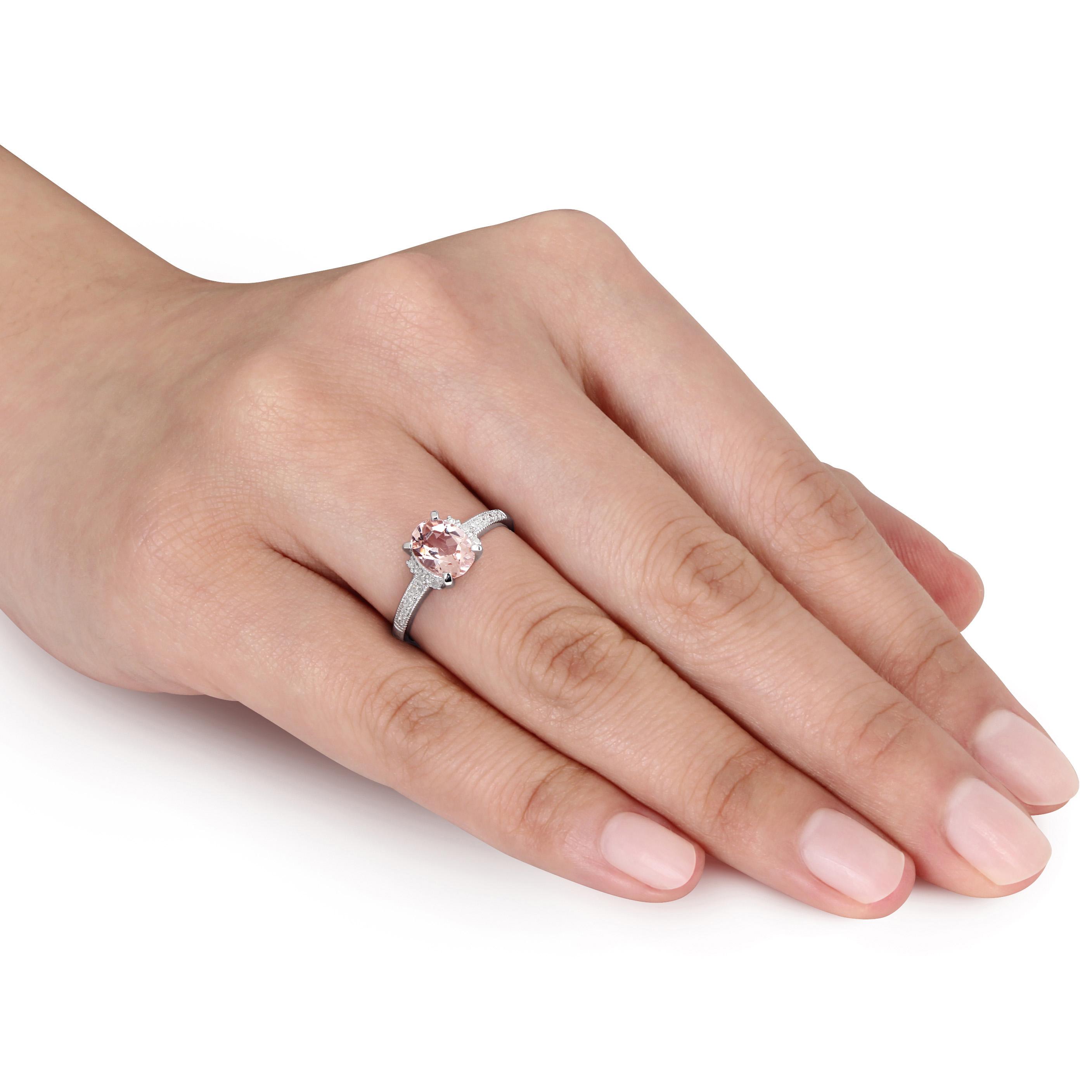 Diamond & Morganite Fashion Ring Sterling Silver (1.21ct)