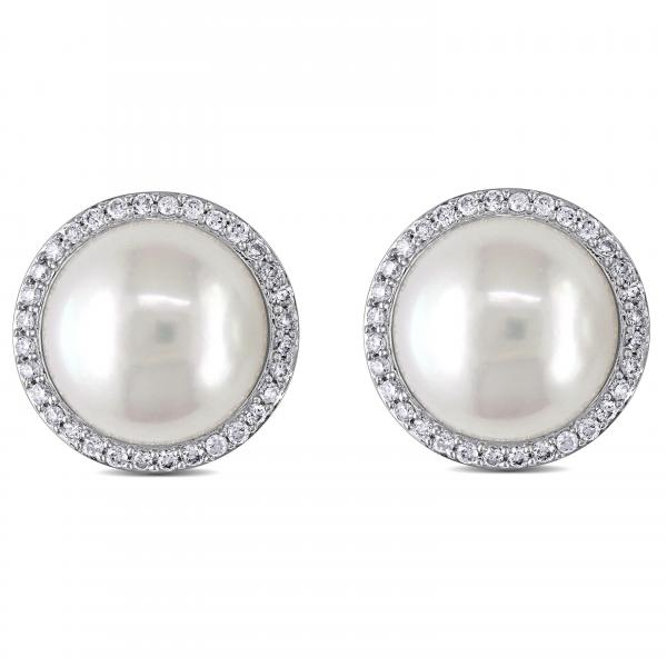 Freshwater Pearl and Diamond Stud Earrings 14k W Gold 12.5-13mm 0.50ct