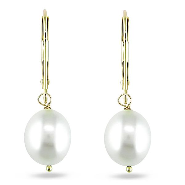 Freshwater Rice Pearl Leverback Earrings 14k Yellow Gold 8-9mm