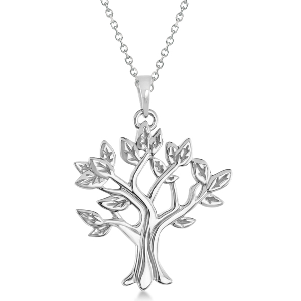Allurez My Tree of Life Pendant Necklace in Solid 14K Whi...