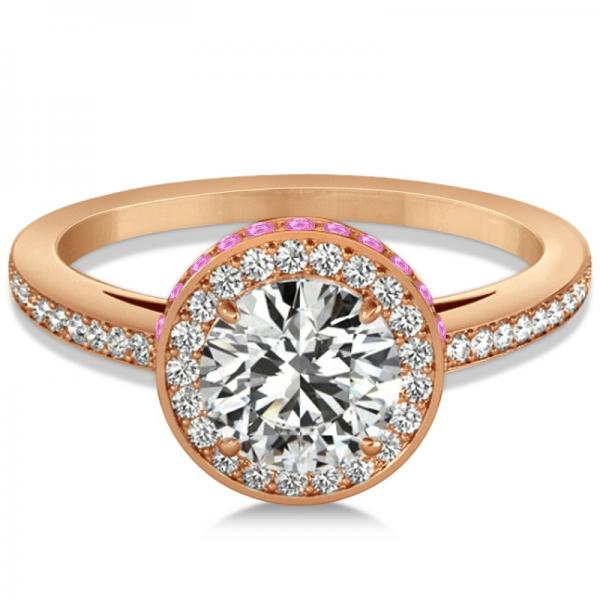Diamond Halo Engagement Ring Pink Sapphire Accents 14k R. Gold 0.50ct