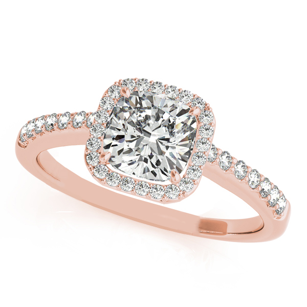 Allurez Cushion Cut Diamond Halo Engagement Ring 18k Rose...