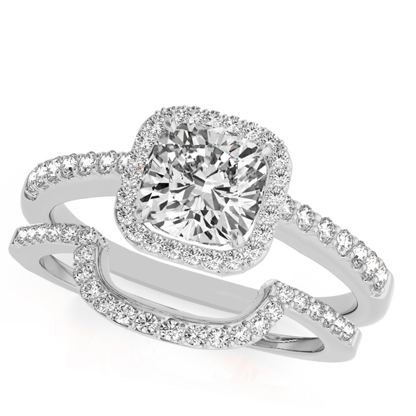 Allurez Cushion Cut Square Shape Diamond Halo Bridal Set ...