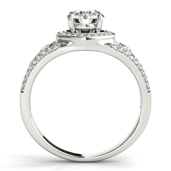 Vintage Wide Band Halo Diamond Engagement Ring 14k White Gold (1.08ct)