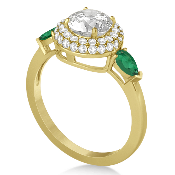 Pear Cut Emerald & Diamond Engagement Ring Setting 14k Y. Gold 0.75ct