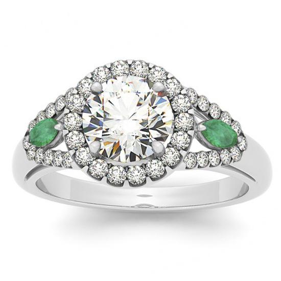 Diamond & Marquise Emerald Engagement Ring Palladium (1.59ct)