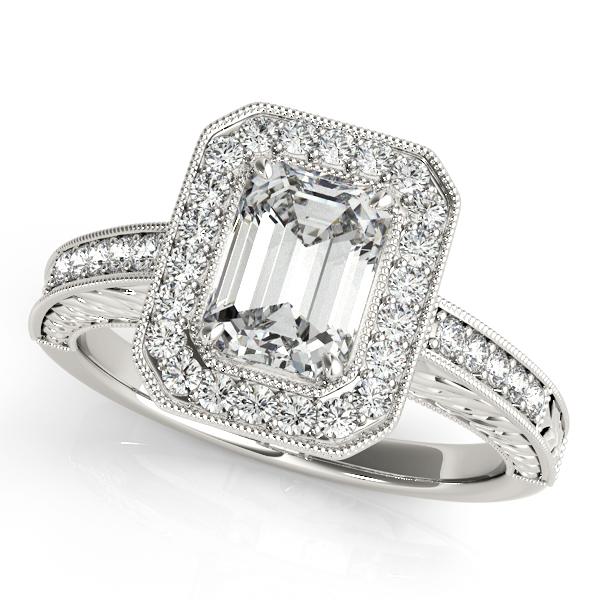 Antique Emerald Cut Diamond Engagement Ring 14k White Gold 1 80ct