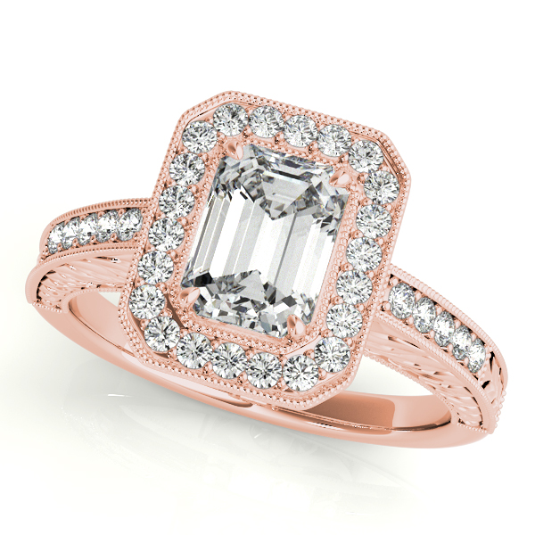 1760577a28a2e Antique Emerald Cut Diamond Engagement Ring 18k Rose Gold (1.80ct)