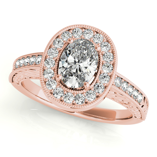 Antique Style Oval Diamond Halo Engagement Ring 14k Rose Gold 150ct