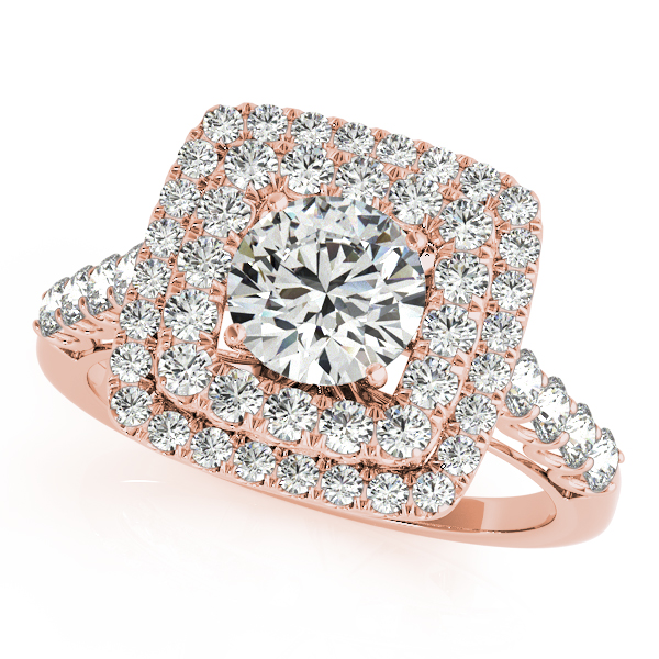 Square Double Diamond Halo Engagement Ring 18k Rose Gold 2 63ct Ng1102