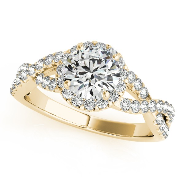 Diamond Infinity Twisted Halo Engagement Ring 14k Yellow Gold 1 50ct