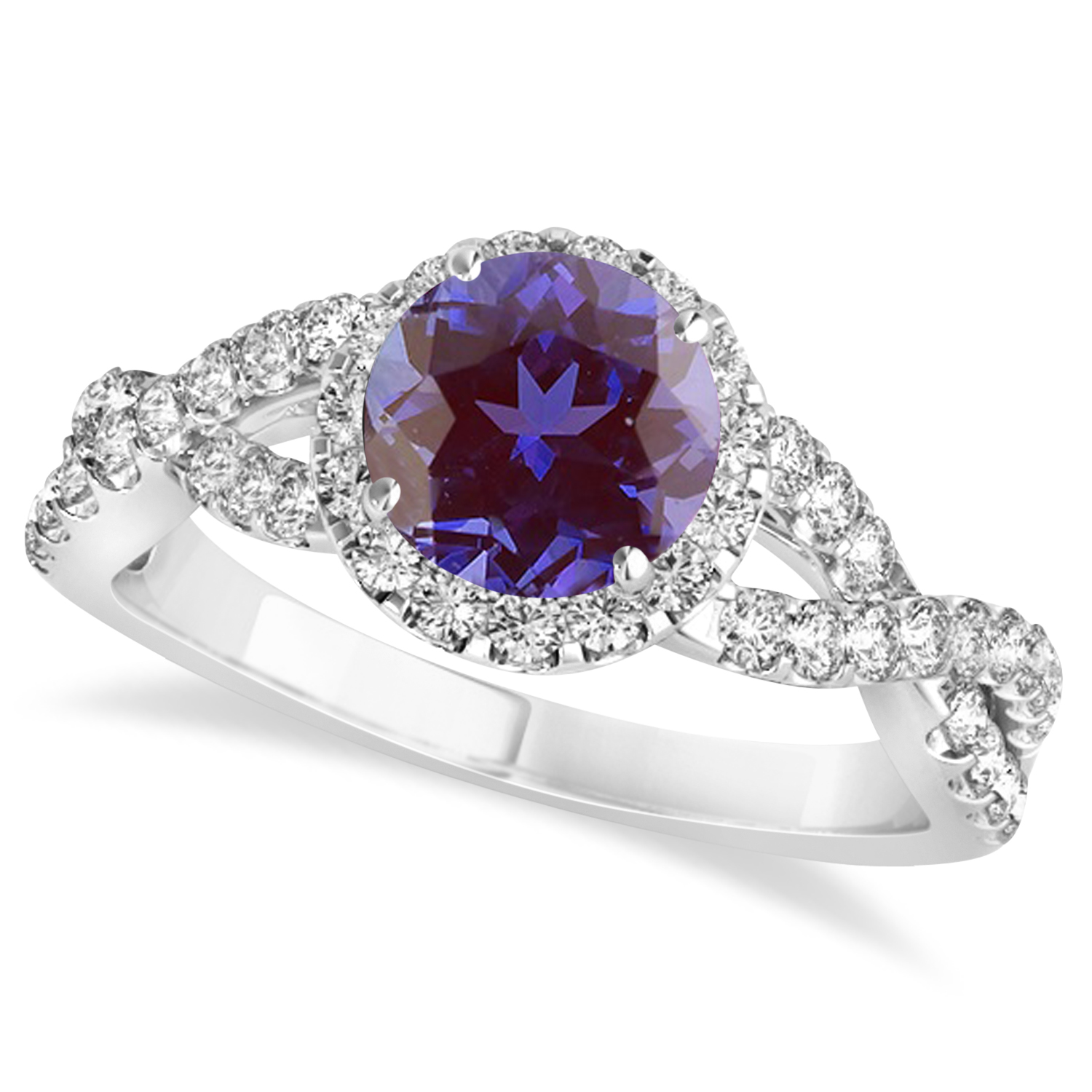 Alexandrite & Diamond Twisted Engagement Ring 14k White Gold 1.80ct