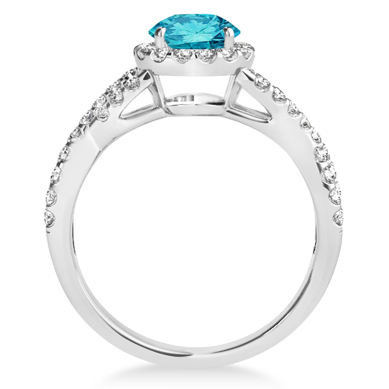 Blue Diamond & Diamond Twisted Engagement Ring 14k White Gold 1.30ct