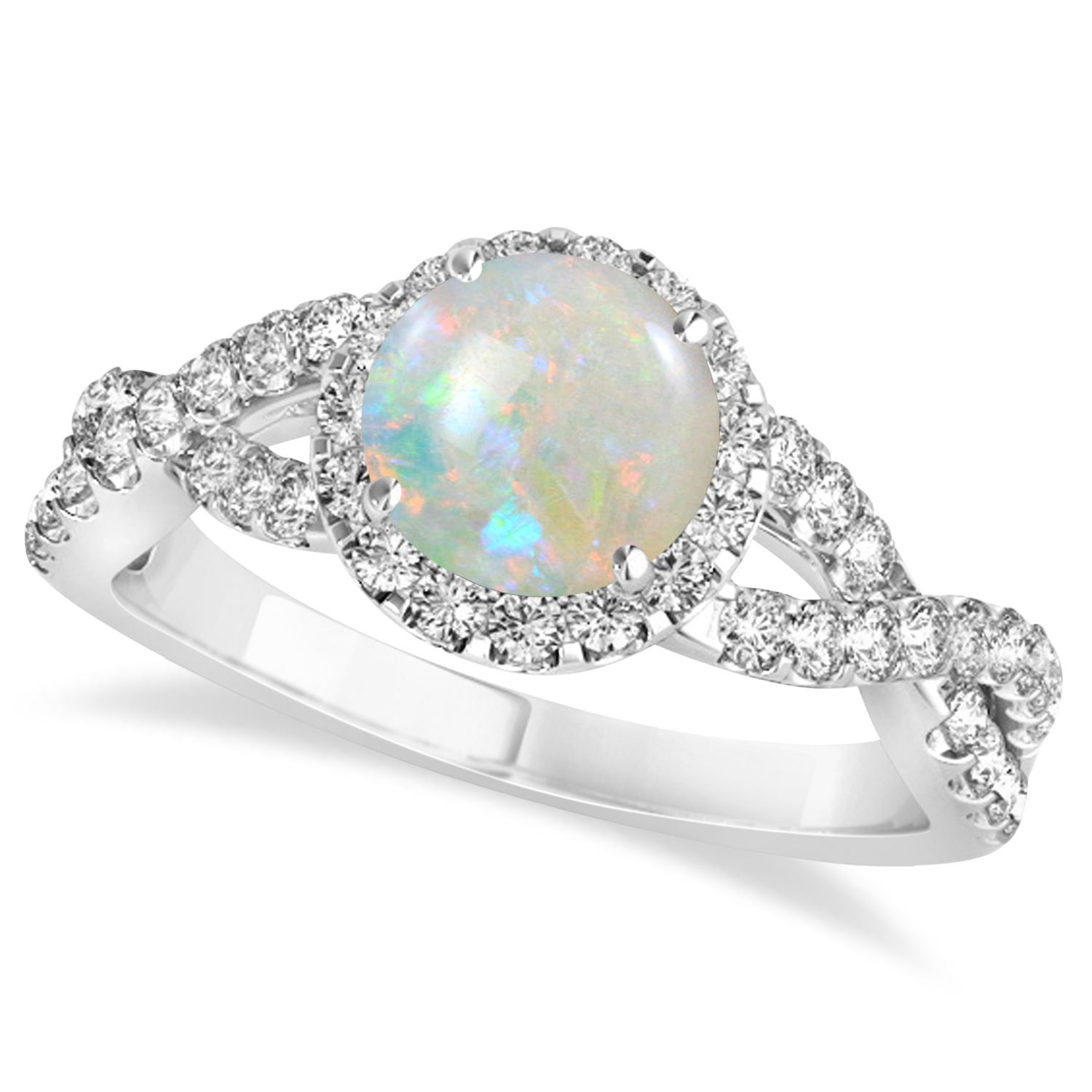 Allurez Opal and Diamond Twisted Engagement Ring 14k Whit...