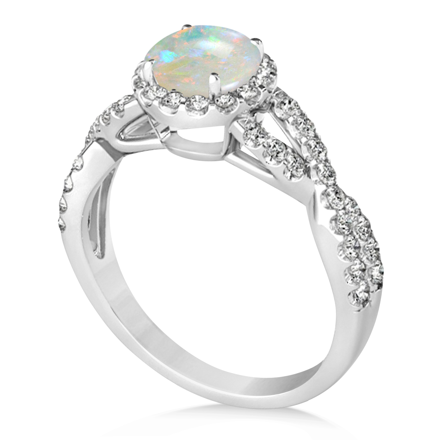 Opal & Diamond Twisted Engagement Ring 14k White Gold 1.07ct