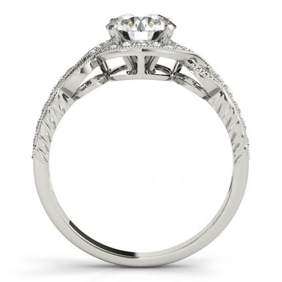 Vintage Style Halo Diamond Engagement Ring Setting 14k W. Gold 0.25ct