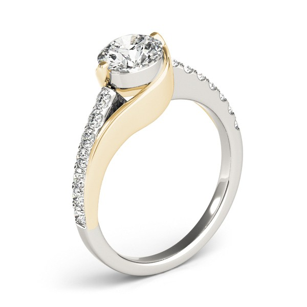 Solitaire Engagement Ring Diamond Accented 14k Two Tone Gold 1.00ct
