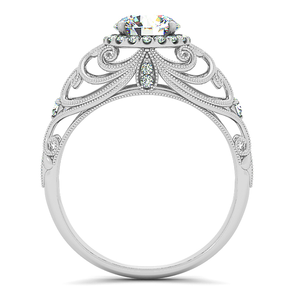 Vintage Style Carved Halo Diamond Engagement Ring 14k W. Gold 1.00ct