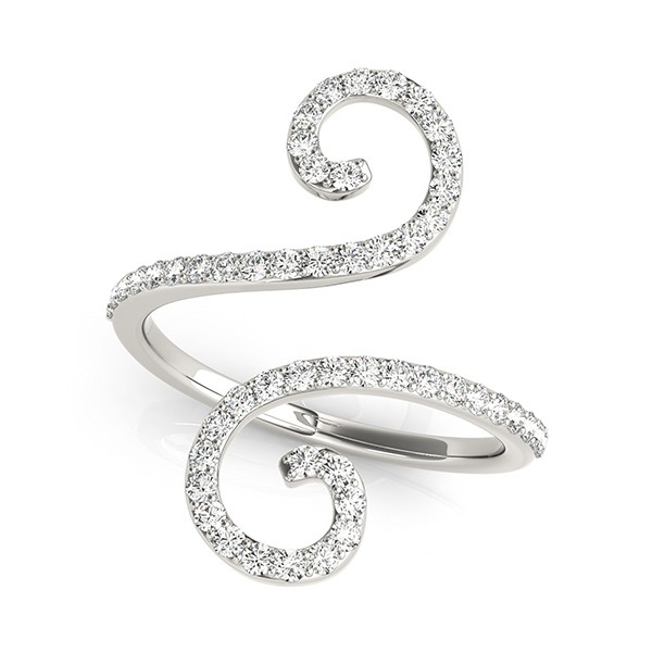 Diamond Swirl Band Abstract S Shape Ring 14k White Gold 050ct