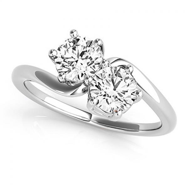 Diamond Solitaire Two Stone Ring 14k White Gold 1 00ct