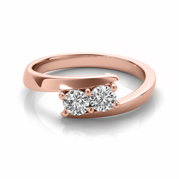 Diamond Solitaire Tension Two Stone Ring 18k Rose Gold (2.00ct)