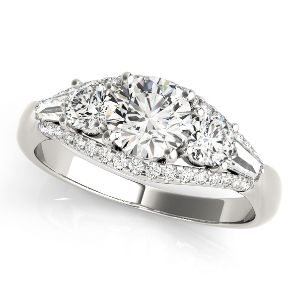 4f85a405fb8a3 Multi-Stone Baguette Diamond Engagement Ring 18k White Gold (1.38ct)