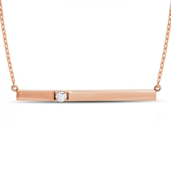 Horizontal Bar Necklace with Diamond Accent 14k Rose Gold 0.10ct