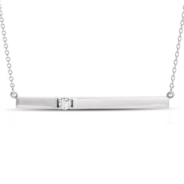 Horizontal bar necklace with diamond accent 14k white gold 010ct aloadofball Image collections