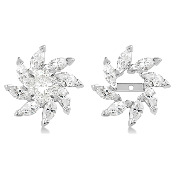 c91a45c38a0402 Marquise Earring Jackets in 14k White Gold (1.60ct) - RE982