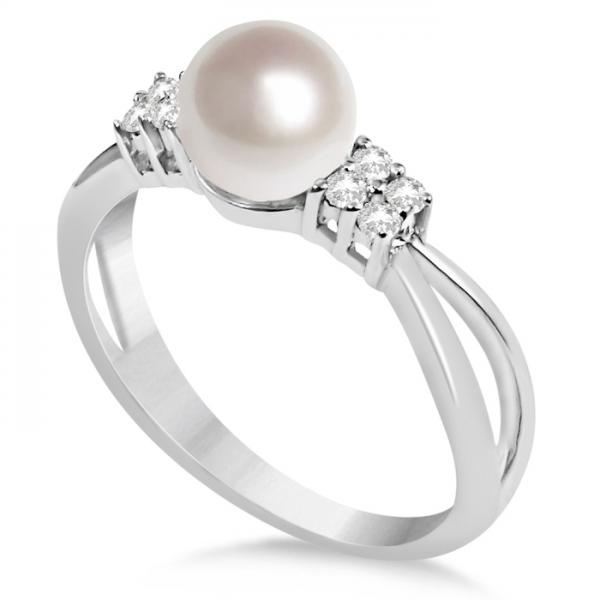 3c70f39d05fb53 Diamond Accented Akoya Cultured Pearl Ring 14K White Gold 6.5-7mm - PI52