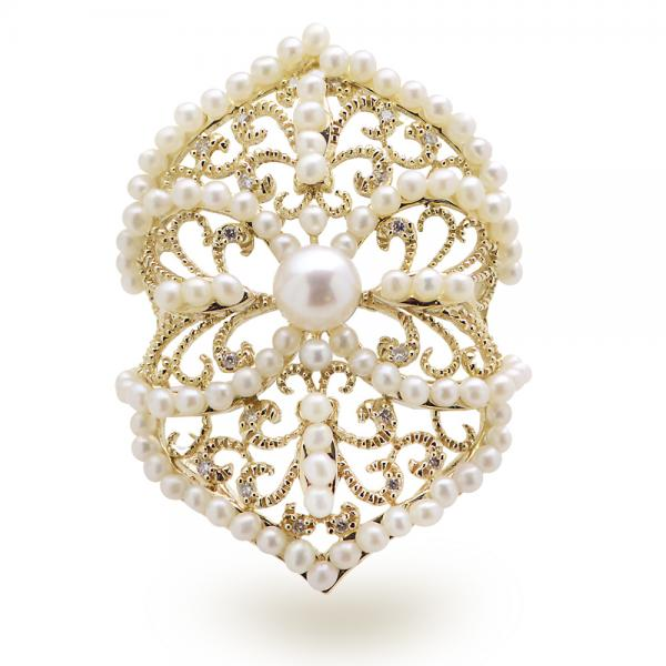 Vintage Style Diamond & Akoya Pearl Cocktail Ring 14k Y. Gold 5-5.5mm