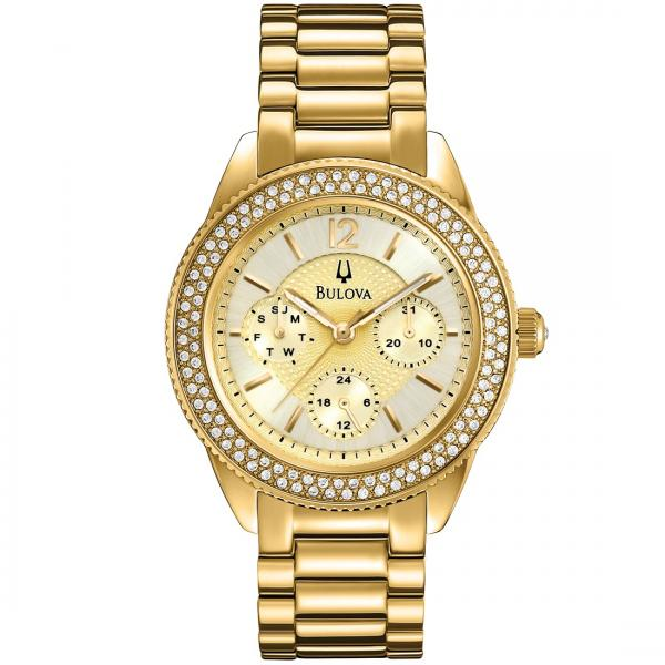 Bulova Women's Chronograph Gold-Tone Dial Stainless Steel Quartz Watch