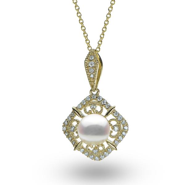 Antique Style Pearl & Diamond Pendant Necklace 14k Yellow Gold (0.21ct