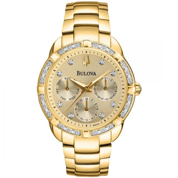 Bulova Women's Chronograph Gold Tone Stainless Steel Diamond Watch