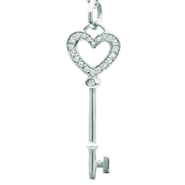 Allurez Diamond Heart Key Pendant Necklace in Sterling Si...