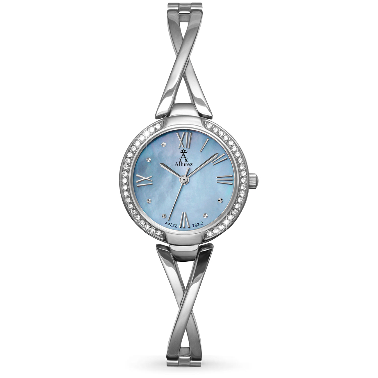 Allurez Women's Swarovski Crystal Accented Blue Mother of Pearl Dial Watch