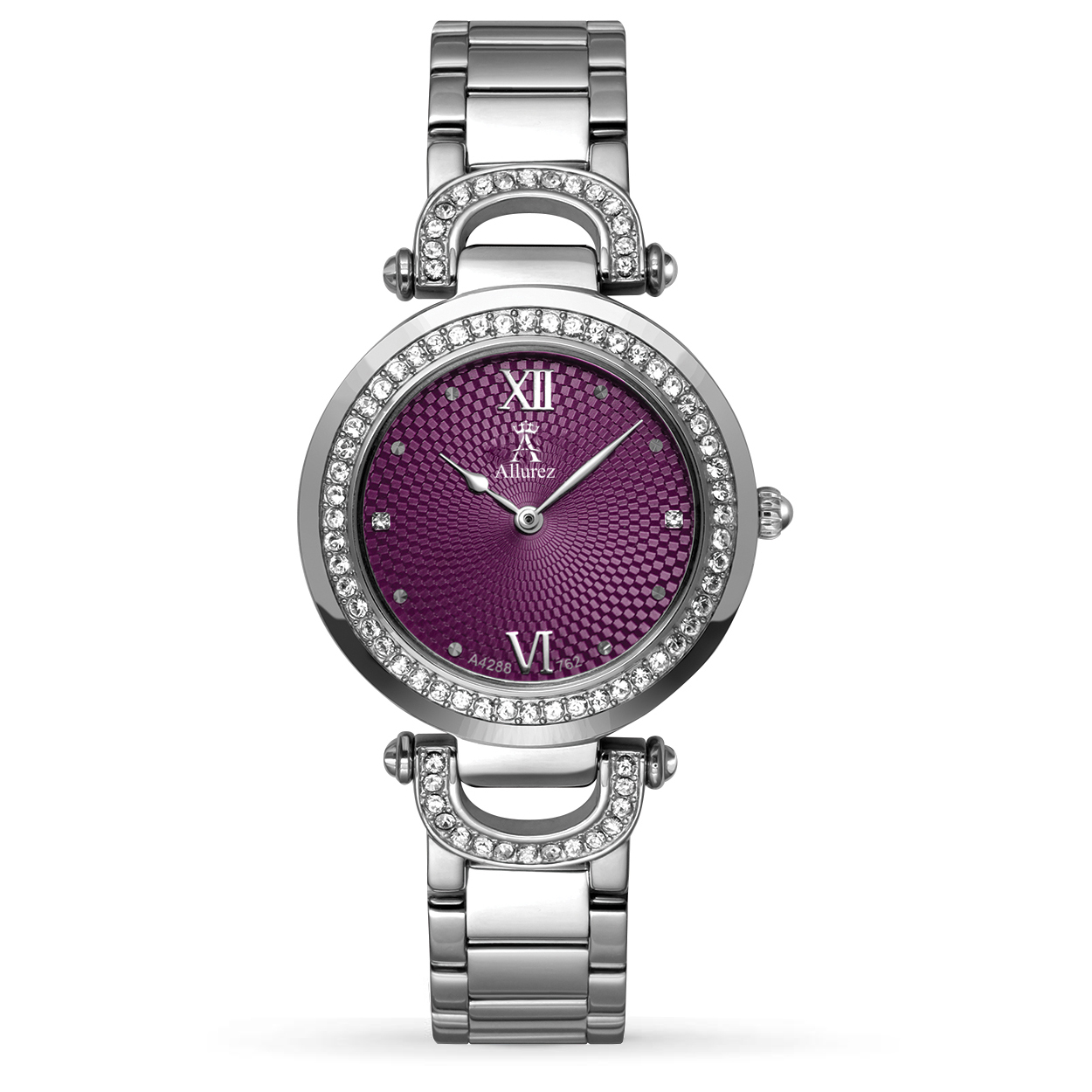 Allurez Women's Purple Dial Swarovski Crystal Stainless Steel Watch