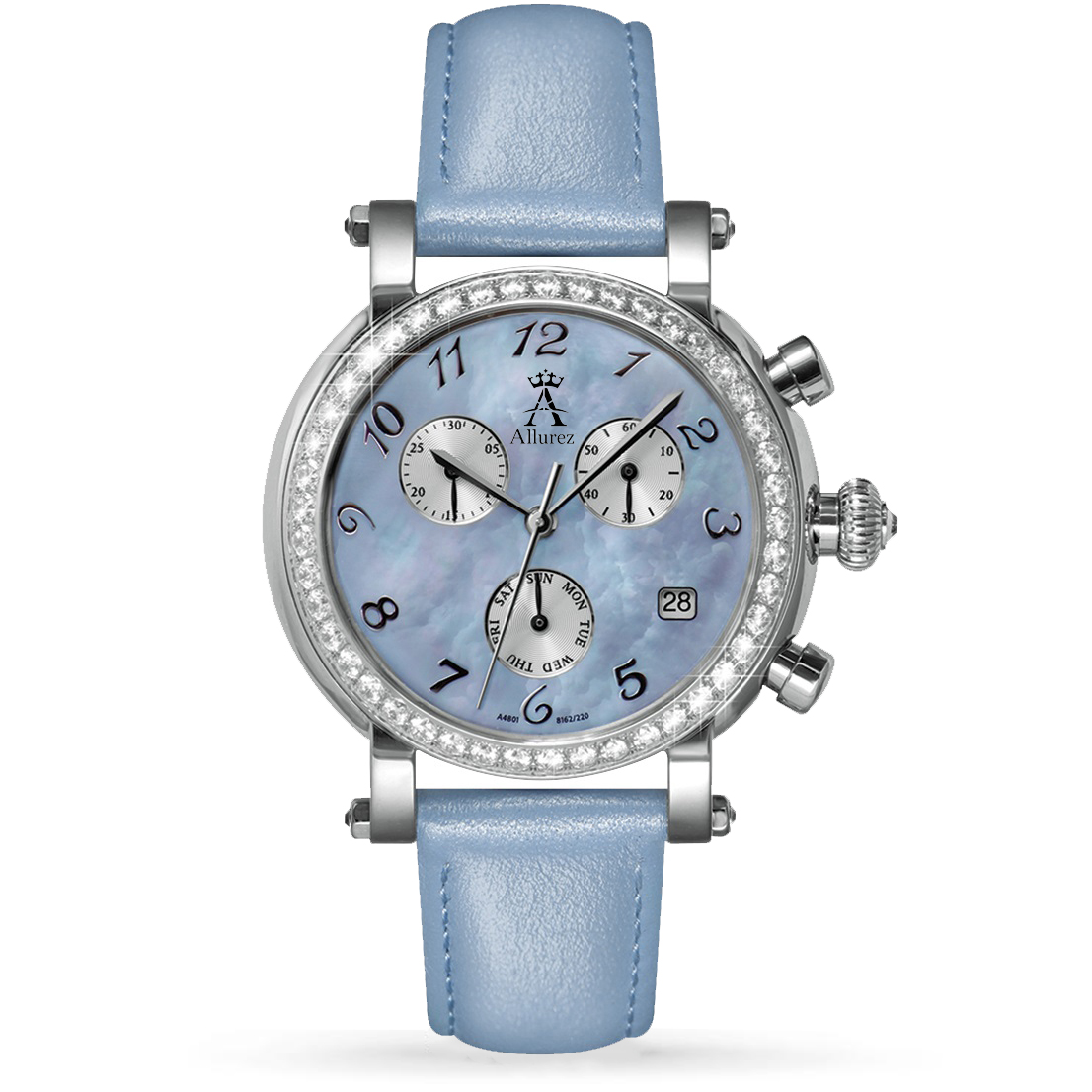 Allurez Women's Blue Mother of Pearl Chronograph Leather Watch Allurez