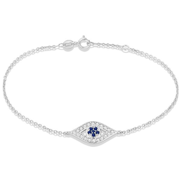 Allurez Blue Sapphire Evil Eye Diamond Ankle Bracelet in ...